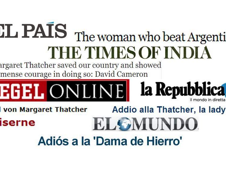 USE: Thatcher headlines from around the world