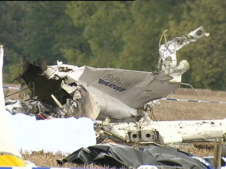 The wreckage of the crashed plane in which 10 parachutists died