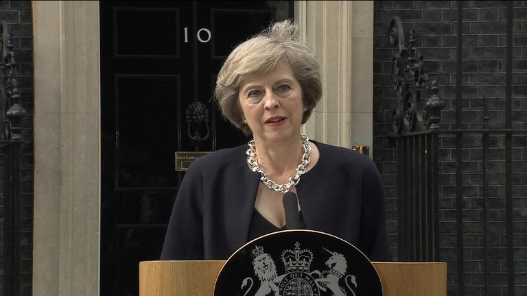 Theresa May delivers her first speech as Prime Minister outside 10 Downing Street