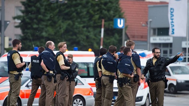 Police  near the Olympia-Einkaufszentrum shopping centre in the northern part of Munich