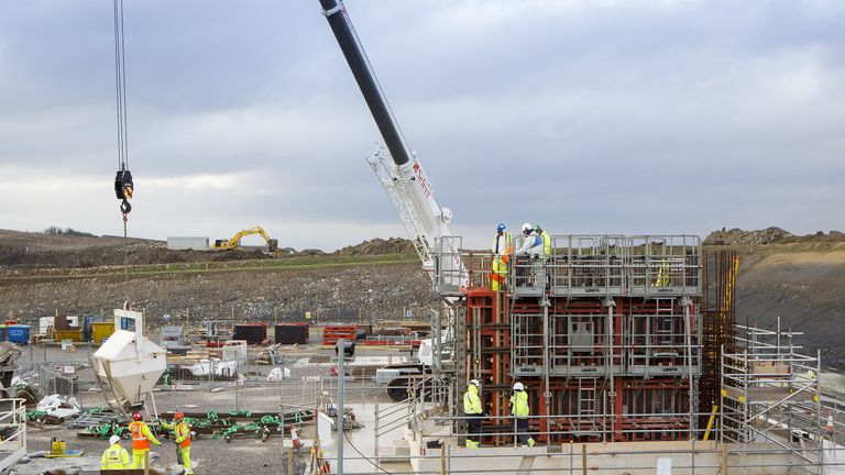 The concrete process trial pour at the Hinkley Point C site in January 2015