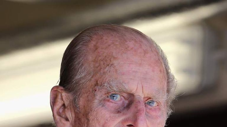Prince Philip, Duke of Edinburgh looks on during the Queen's Diamond Jubilee visit to the Isle of Wight on July 25, 2012