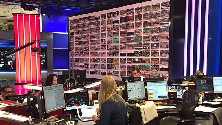 The news wall showing all 150 feeds by Sky News for General Election 2015