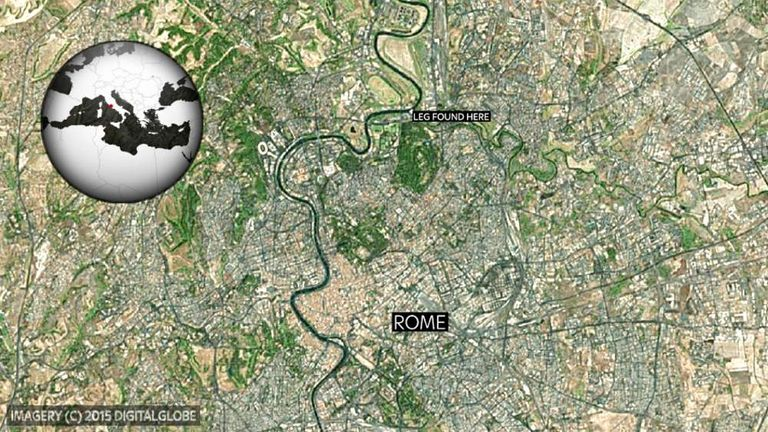A map of Rome showing where the severed leg was found