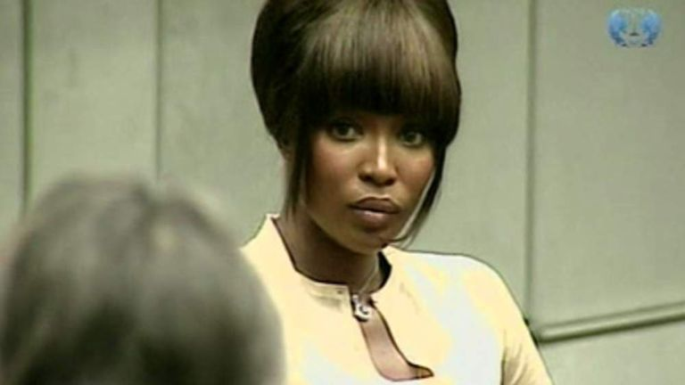 Naomi Campbell gives evidence in The Hague