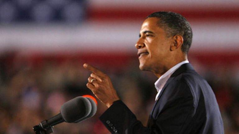 President Barack Obama at rally in Ohio