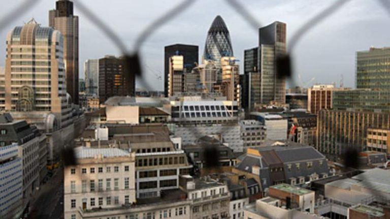 City of London from behind a fence