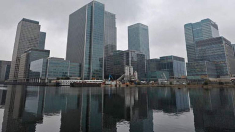 The headquarters of banking giant HSBC (3rd R), are pictured in the Canary Wharf area of London on September 28, 2010.