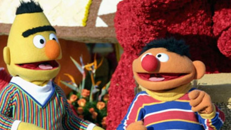 Sesame Street's Bert and Ernie ride the 'Music Makes us Family' float in the 116th Tournament Of Roses Parade on January 1, 2005 in Pasadena California.