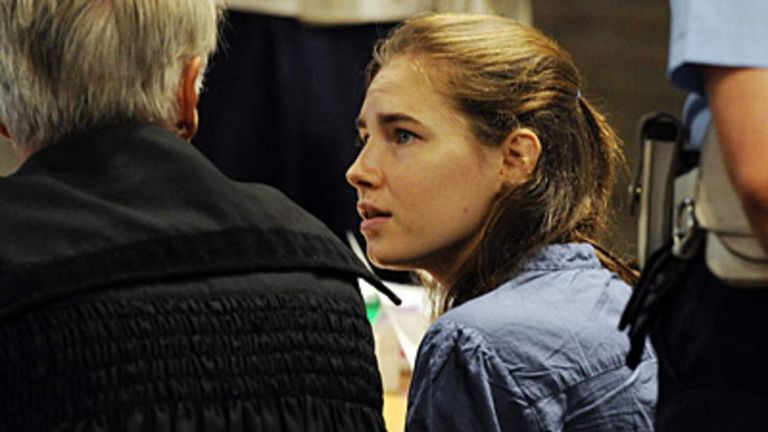 Amanda Knox at her appeal hearing in Perugia over the murder of Meredith Kercher