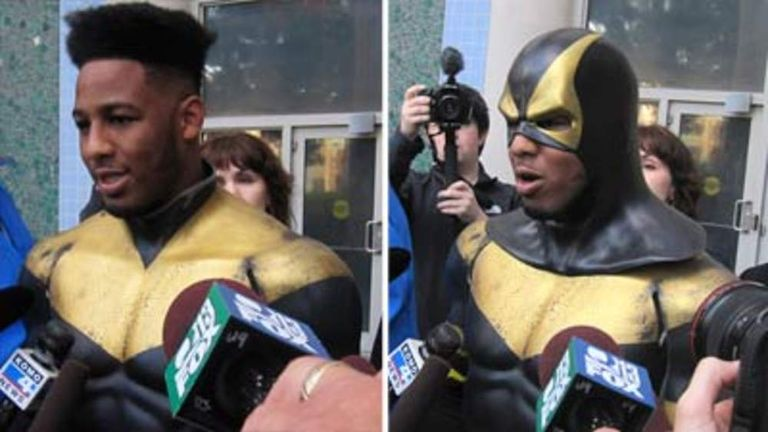 "Benjamin Fodor, aka Seattle superhero ""Phoenix Jones"", speaks to the media"