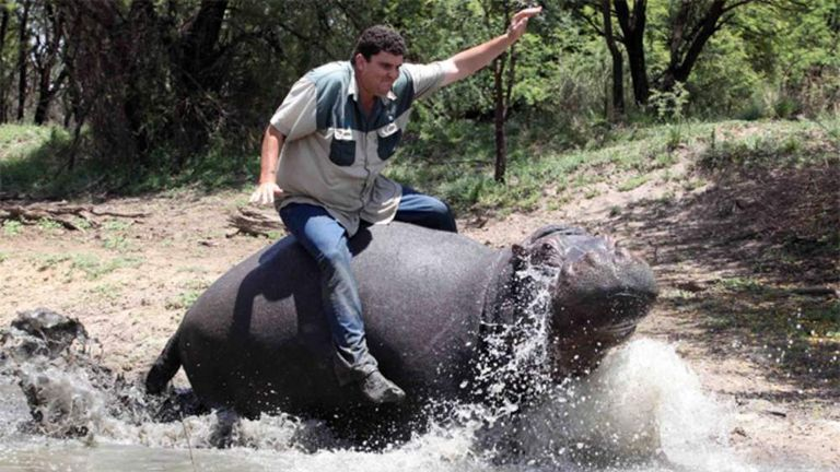 Humphrey the Hippo and his owner Marius Els in South Africa