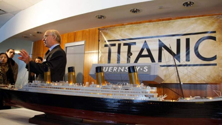 A model of the Titanic at New York's Guernsey's Auctioneers & Brokers