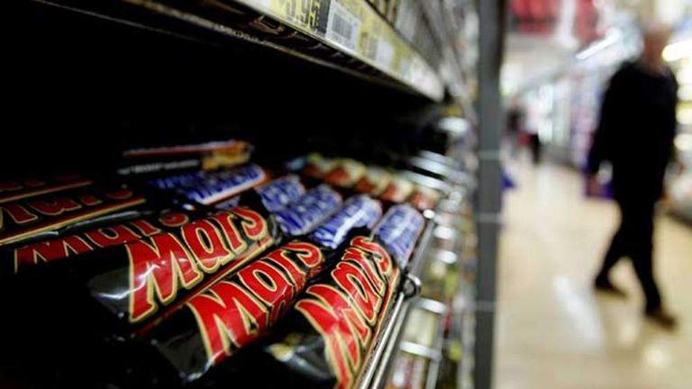 Mars Bars in a supermarket