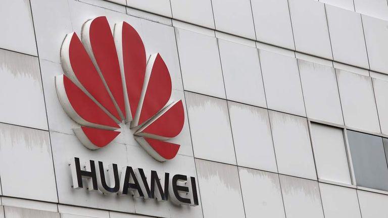 The logo of Chinese tech giant Huawei