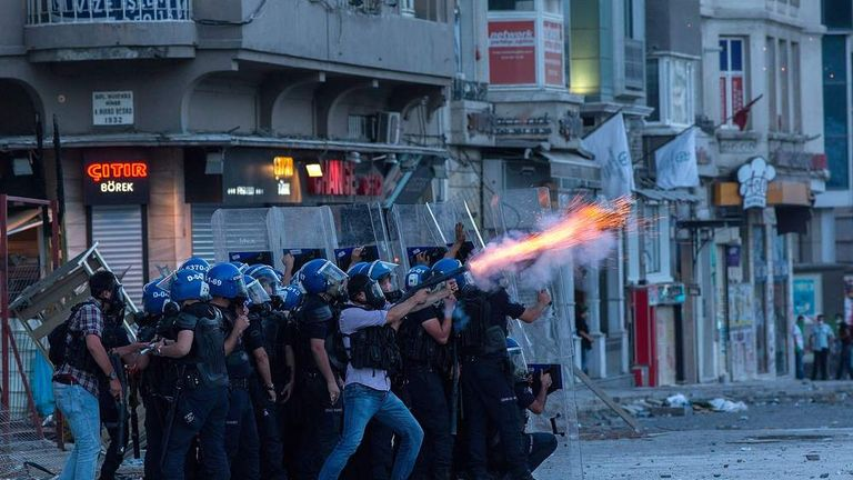 Protests in Taksim Square in Istanbul, Turkey