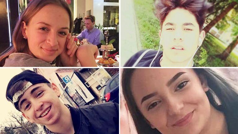 L-R, top to bottom: Victims Sabina Sulaj, Selcuk Kilic,  Can Leyla and Armela Segashi