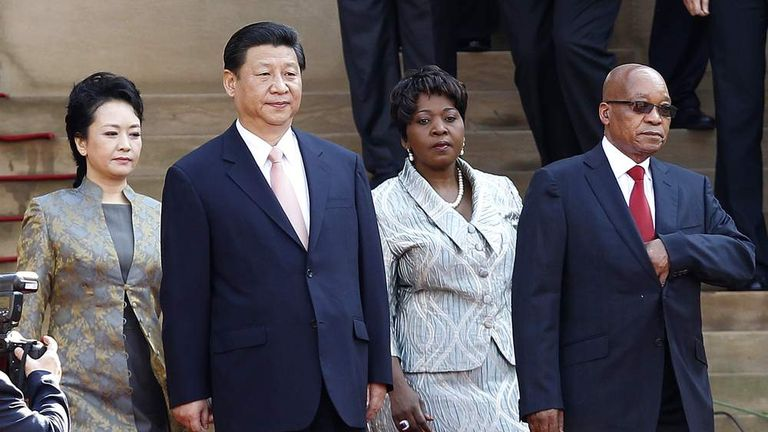 South Africa's President Jacob Zuma and his fourth wife Bongi Ngema welcomes China's President Xi Jinping and his wife Peng Liyuan to South Africa