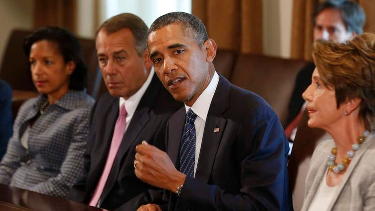 U.S. President Obama talks to Congressional leaders in Washington to discuss a response to Syria