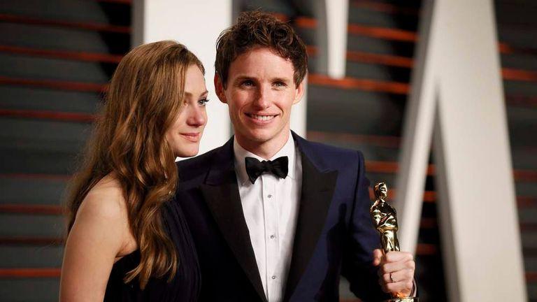 Eddie Redmayne and Hannah Bagshawe arrive at the 2015 Vanity Fair Oscar Party in Beverly Hills