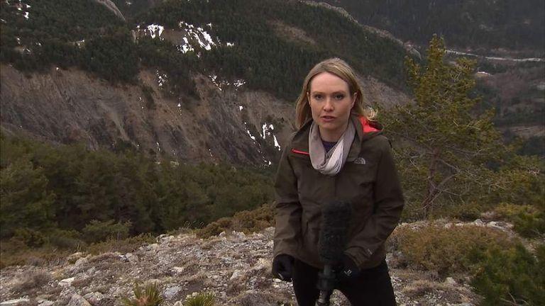 Sky's Katie Stallard at the scene of the plane crash in the Alps.