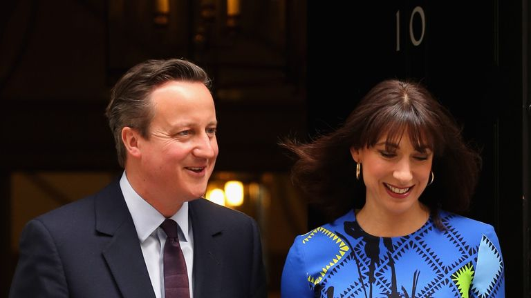 David Cameron and his wife Samantha outside Number 10 after winning an outright majority in the May 2015 General Election