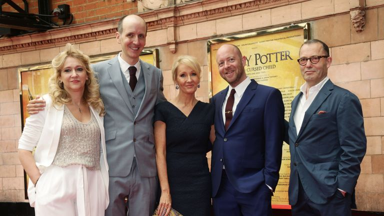JK Rowling with the team behind Harry Potter And The Cursed Child