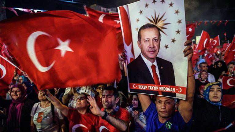 Pro-Erdogan supporters in Taksim Square in Istanbul last week
