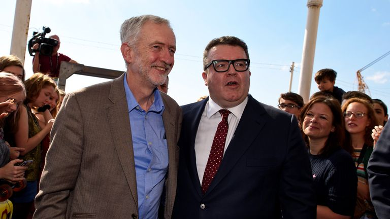 Labour Party leader Jeremy Corbyn and his deputy, Tom Watson
