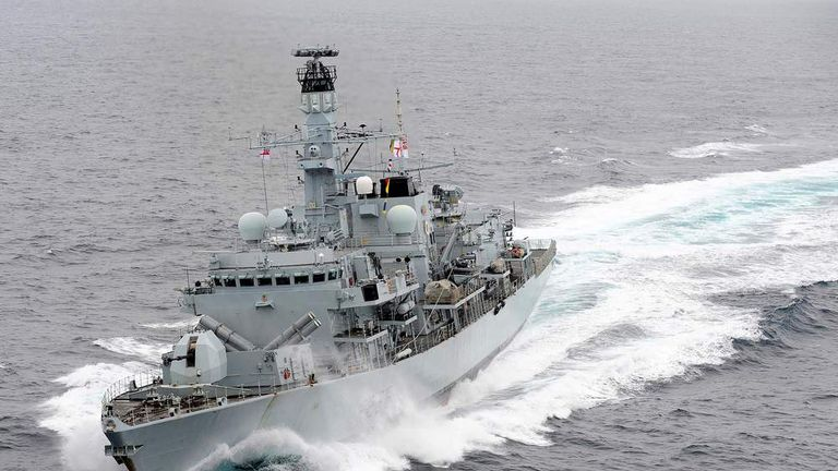 HMS Montrose in the Mediterranean Sea