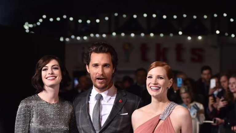 "European premiere of ""Interstellar"" in Leicester Square in London with Anne Hathaway, Matthew McConaughey, Michael Caine and Jessica Chastain"