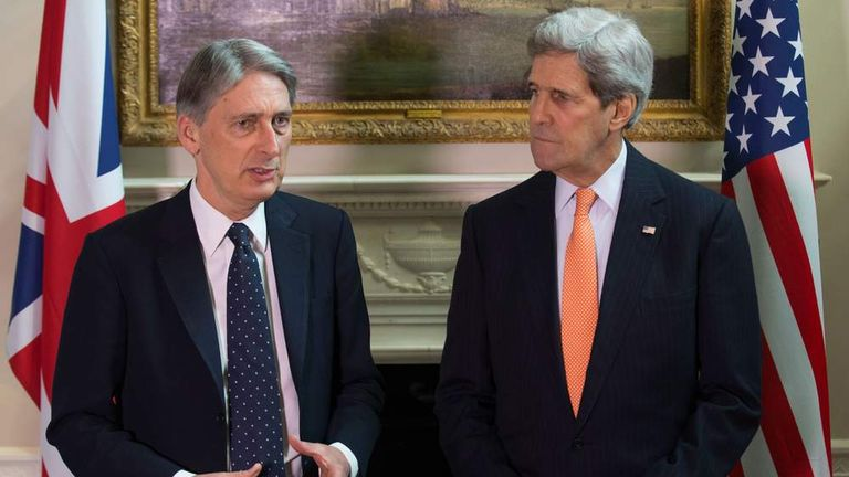 British Secretary of State for Foreign and Commonwealth Affairs Philip Hammond meets with United States Secretary of State John Kerry.