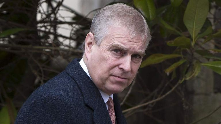 Prince Andrew, Duke of York leaves the Easter Sunday service at St George's Chapel at Windsor Castle