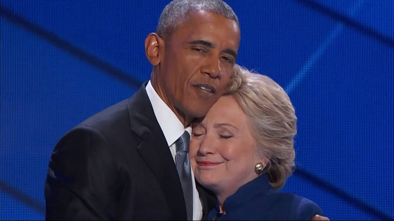 President Obama and Hillary Clinton at the Democrat Convention