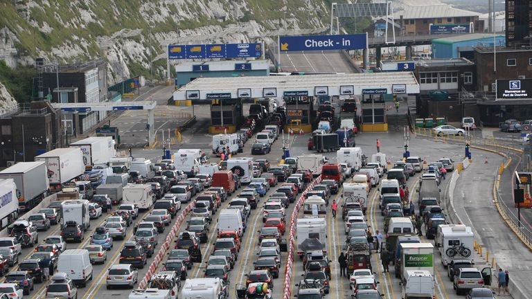 Queues at customs in Dover