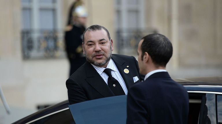 Moroccan King Mohammed VI leaves with the French president (Not pictured) following their meeting on February 17, 2016