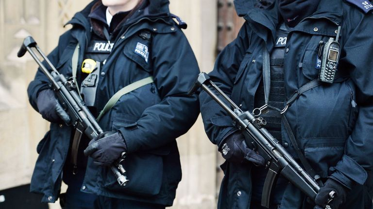 Armed police in central London. File picture