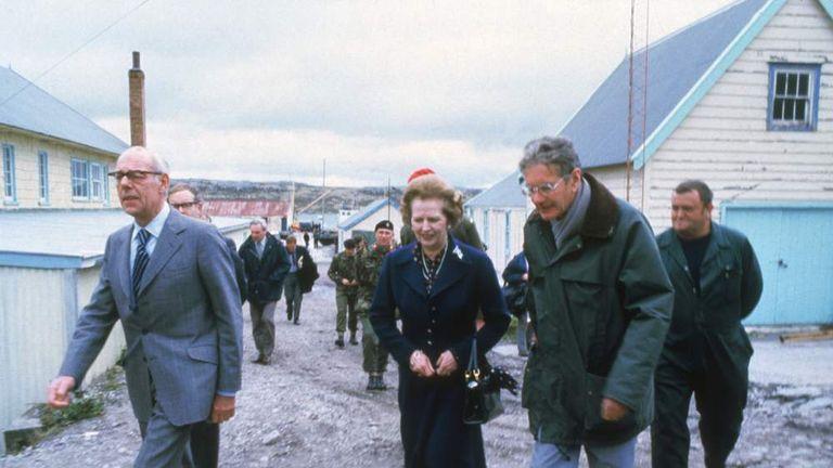 Margaret Thatcher In Stanley in 1983