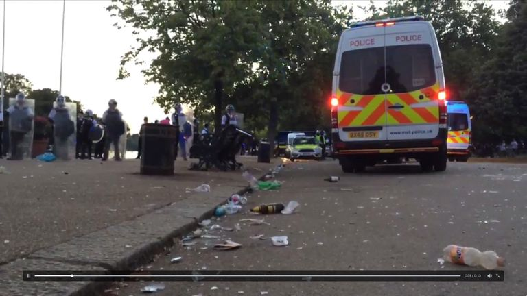 Police on the scene at London's Hyde Park after a waterfight got out of control