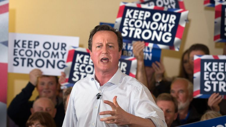 Prime Minister David Cameron addresses supporters at a Remain rally during the EU referendum campaign in June 2015