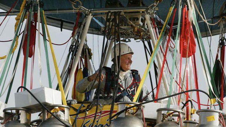 Steve Fossett aboard the balloon he set the world record on
