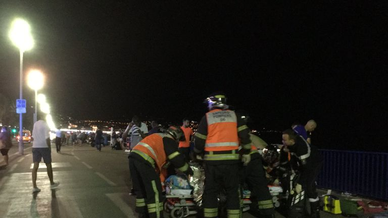 Image from @Nice_Matin showing emergency services personnel at the scene