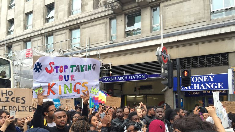 Protesters marched along Oxford Street