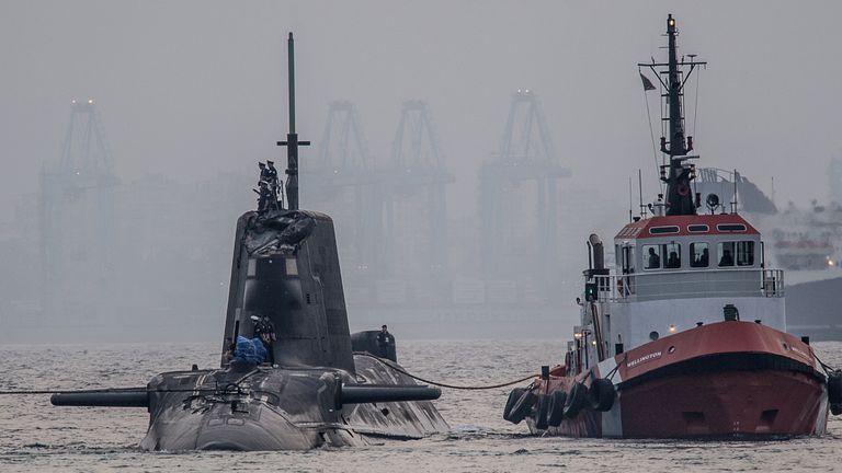 HMS Ambush being brought back to GIbraltar Pic: David Parody