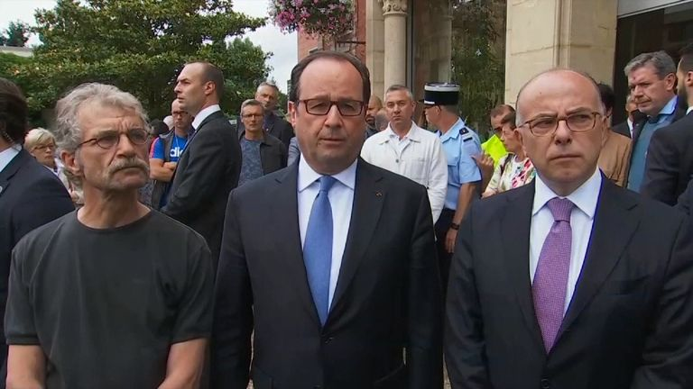President Hollande in Saint-Etienne-du-Rouvray after the church attack