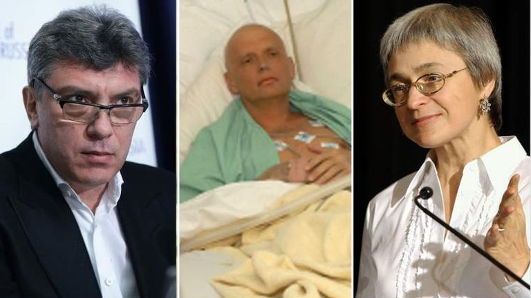 L-R Boris Nemtsov, Alexander Litvinenko, Anna Politkovskaya