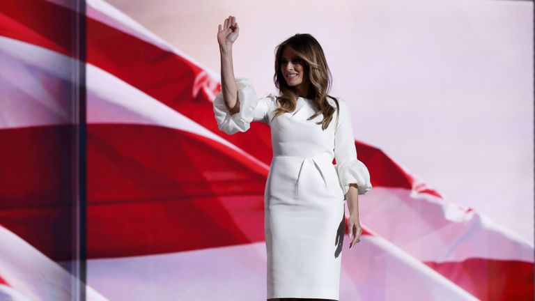 Melania Trump, the wife of Republican US presidential candidate Donald Trump, waves at the Republican National Convention in Cleveland, Ohio