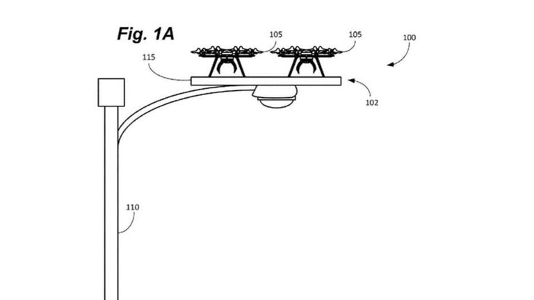 A patent application sketch shows how the drone perch would look