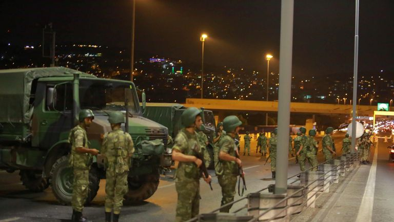 Turkish military block access to the Bosphorus bridge, which links the city's European and Asian sides, in Istanbul