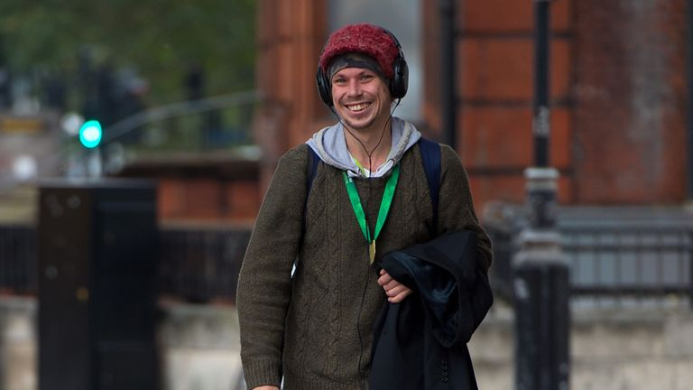 Lauri Love, pictured leaving a court hearing in October 2015